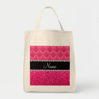 Personalized name pink damask pink glitter bags