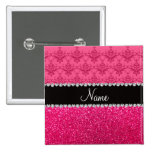 Personalized name pink damask pink glitter pinback buttons