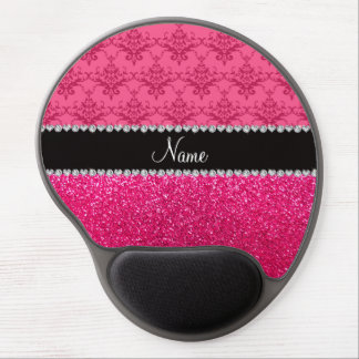 Personalized name pink damask pink glitter gel mouse pad