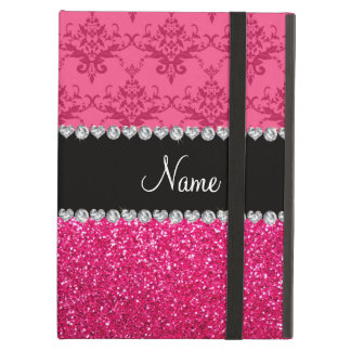 Personalized name pink damask pink glitter iPad air cover