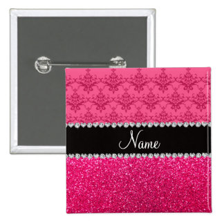 Personalized name pink damask pink glitter pinback button