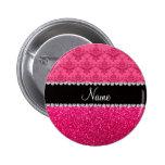 Personalized name pink damask pink glitter pins