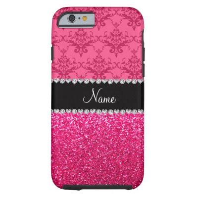 Personalized name pink damask pink glitter tough iPhone 6 case