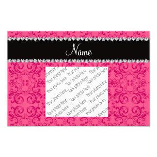 Personalized name pink damask swirls art photo