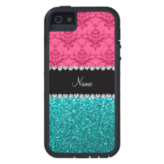 Personalized name pink damask turquoise glitter iPhone 5 case