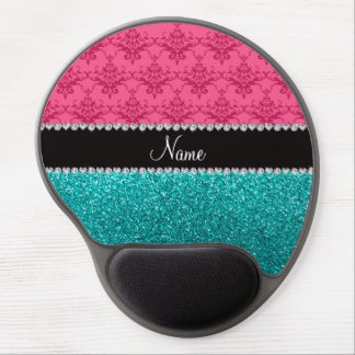 Personalized name pink damask turquoise glitter gel mouse pad