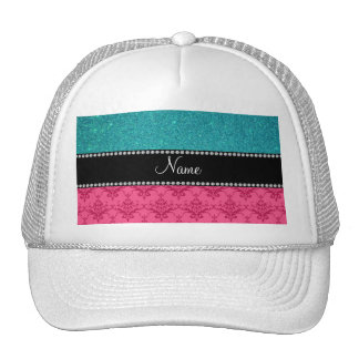 Personalized name pink damask turquoise glitter trucker hat
