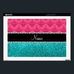 "Personalized name pink damask turquoise glitter laptop skin<br><div class=""desc"">Pink damask pattern background and bright aqua / turquoise glitter (not real glitter) black diamonds stripe (faux diamonds, not real) with hearts and dots personalized with your name gifts or monogram gifts or your initials. Ideal for bride and groom weddings, wedding showers, engagement showers, engagement party, anniversary, save the date,...</div>"