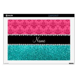 Personalized name pink damask turquoise glitter laptop skin