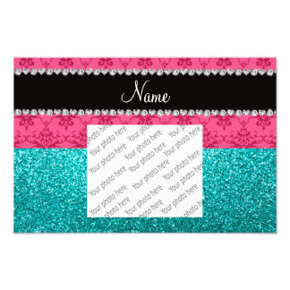 Personalized name pink damask turquoise glitter photo