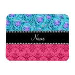 Personalized name pink damask turquoise roses rectangular photo magnet
