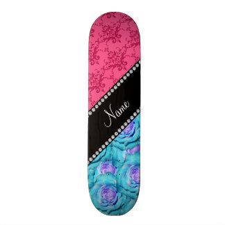 Personalized name pink damask turquoise roses skateboards