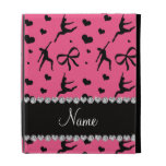 Personalized name pink dancing hearts bows iPad case