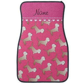 Personalized name pink dandie dinmont terriers car mat