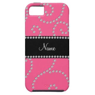 Personalized name pink diamond swirls iPhone 5 cases