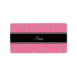 Personalized name pink diamond swirls personalized address label