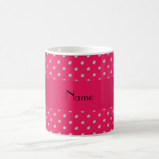 Personalized name pink diamonds coffee mug