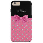 Personalized name pink diamonds pink bow iPhone 6 plus case