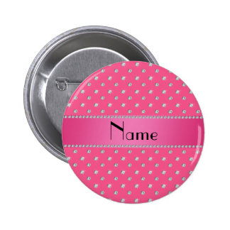 Personalized name pink diamonds pink stripe buttons