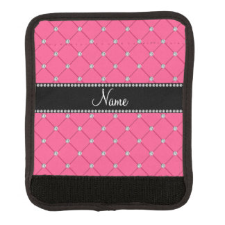 Personalized name pink diamonds tuft luggage handle wrap
