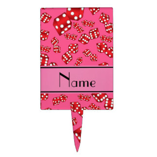 Personalized name pink dice pattern cake toppers