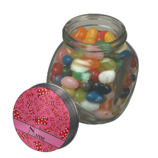 Personalized name pink dice pattern glass jars
