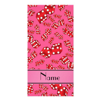 Personalized name pink dice pattern photo card