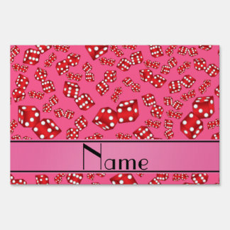 Personalized name pink dice pattern sign