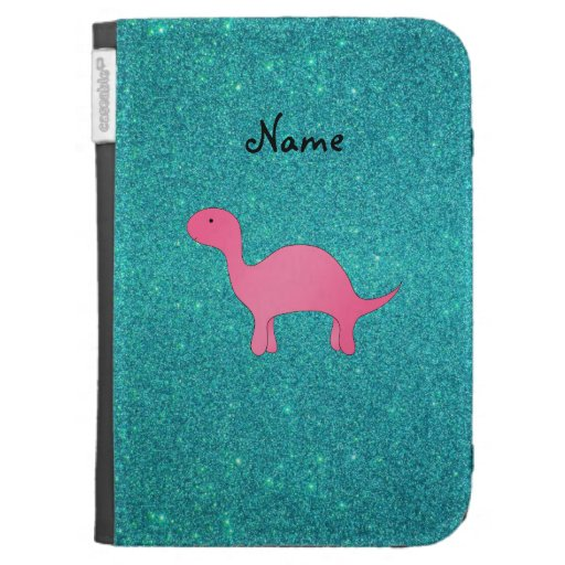 Personalized name pink dinosaur turquoise glitter kindle covers