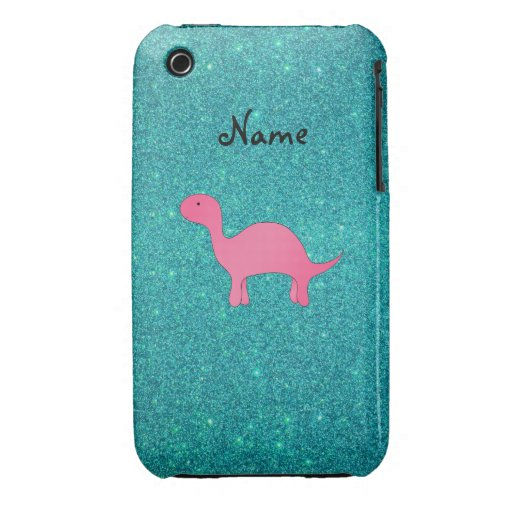 Personalized name pink dinosaur turquoise glitter iPhone 3 cover