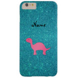 Personalized name pink dinosaur turquoise glitter barely there iPhone 6 plus case