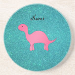 Personalized name Pink dinosaur turquoise glitter Drink Coasters