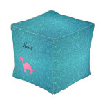 Personalized name pink dinosaur turquoise glitter cube pouf