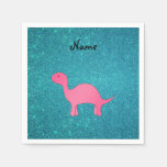 Personalized name pink dinosaur turquoise glitter standard cocktail napkin