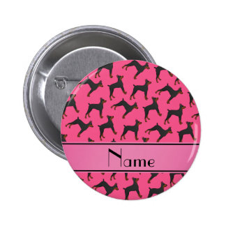 Personalized name pink doberman pinschers 2 inch round button