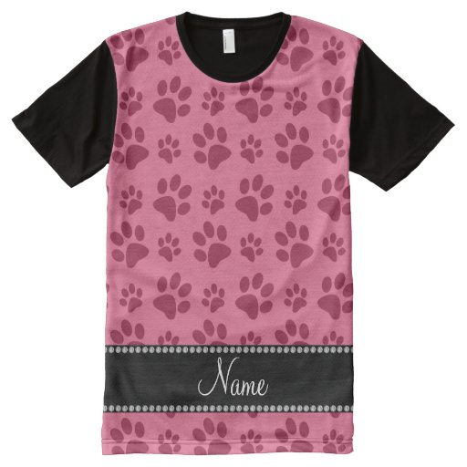Personalized name pink dog paw prints all over print t for Print name on shirt