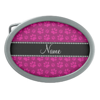 Personalized name pink dog paw prints belt buckles