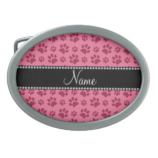 Personalized name pink dog paw prints oval belt buckles