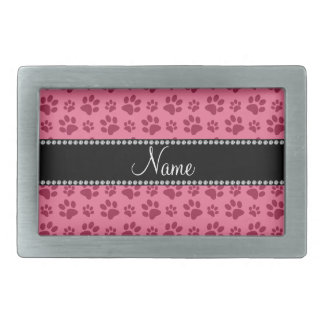 Personalized name pink dog paw prints belt buckle