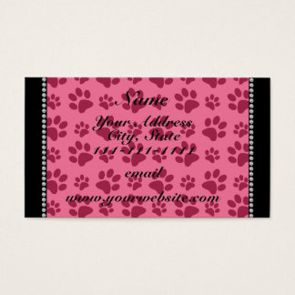 Personalized name pink dog paw prints business card