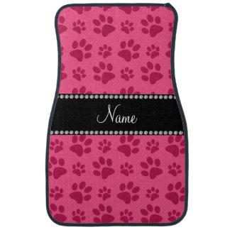 Personalized name pink dog paw prints car mat