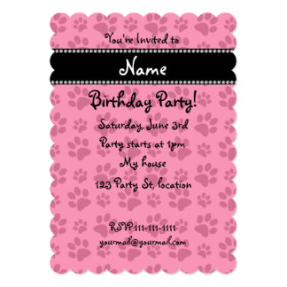Personalized name pink dog paw prints card