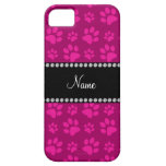 Personalized name pink dog paw prints iPhone 5 covers