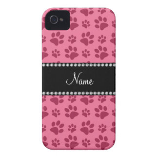 Personalized name pink dog paw prints iPhone 4 Case-Mate cases