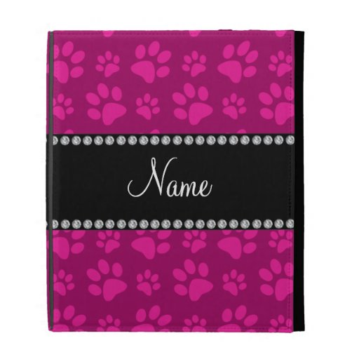 Personalized name pink dog paw prints iPad folio covers