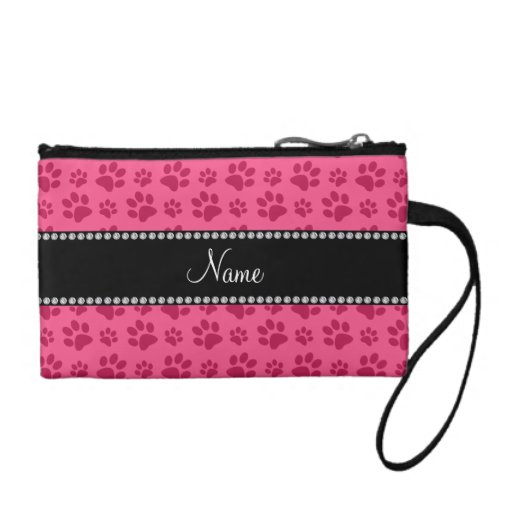 Personalized name pink dog paw prints coin wallet