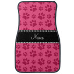 Personalized name pink dog paw prints floor mat