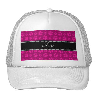 Personalized name pink dog paw prints hat
