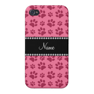 Personalized name pink dog paw prints iPhone 4/4S case