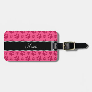 Personalized name pink dog paw prints luggage tag